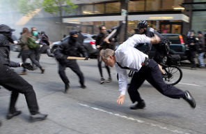 Seattle protesters on May Day 2012. (Seattle Times/Alex Garland)